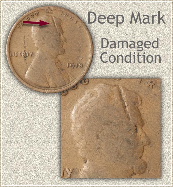 Large Mark Damage on Lincoln Cent
