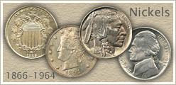 Go to...  Old Nickel Values of Shield, Buffalo and Jefferson Nickels