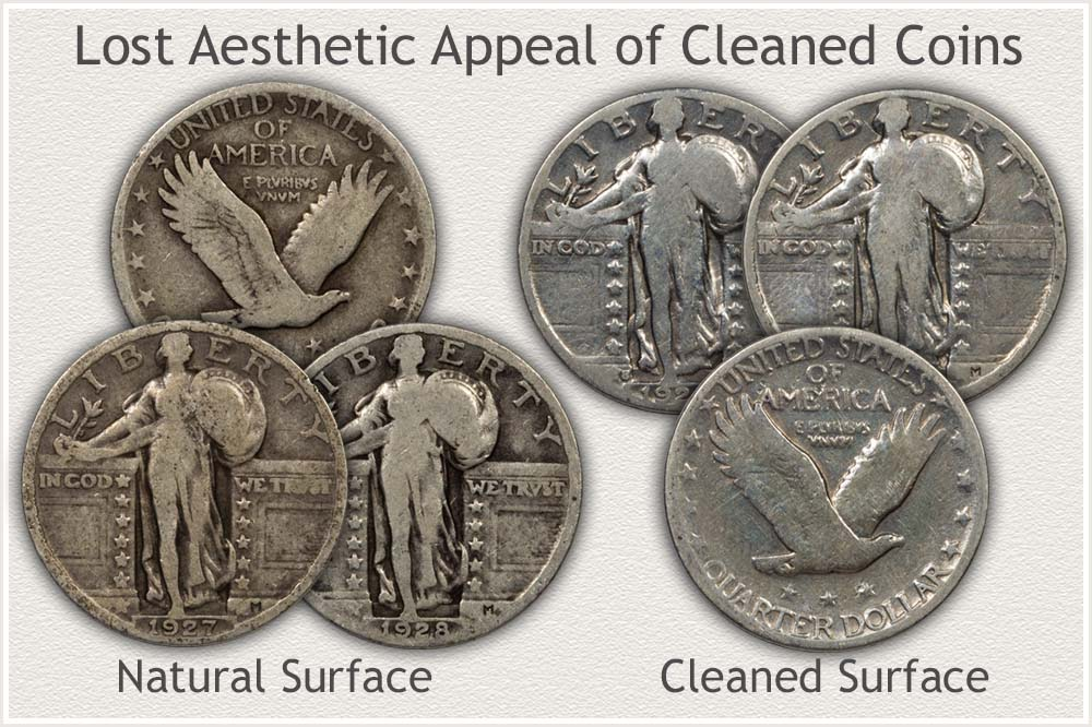 Original Surface and Cleaned Quarters