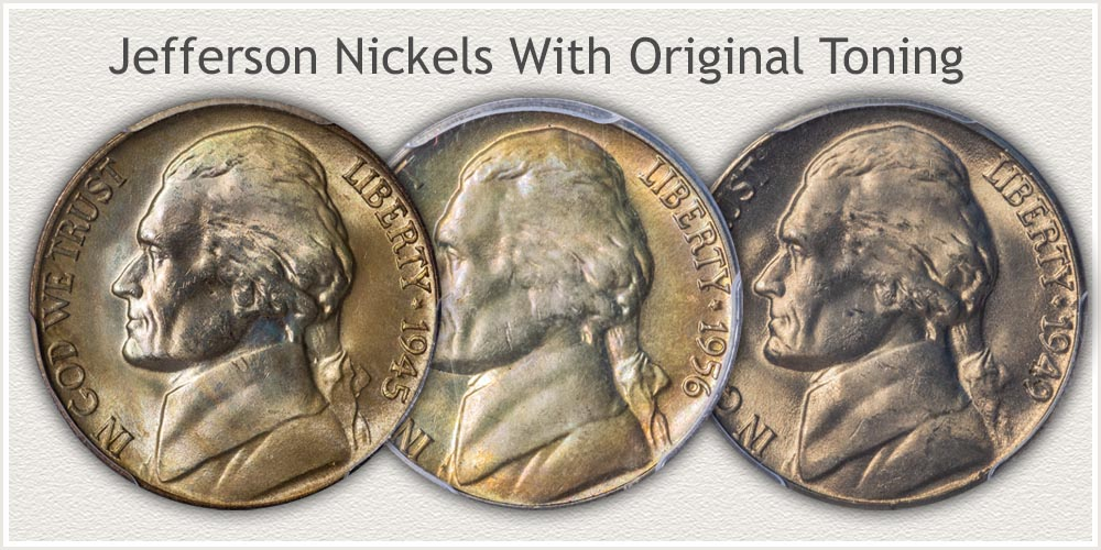 Examples of Original Surface Jefferson Nickels