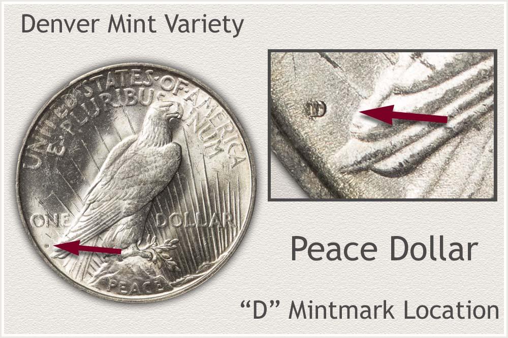 Denver Mint Variety Peace Silver Dollar