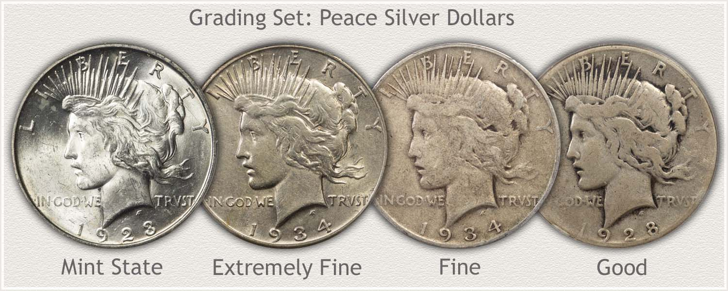 Grading Set of Peace Dollars Mint State, Extremely Fine, Fine, and Good Grades