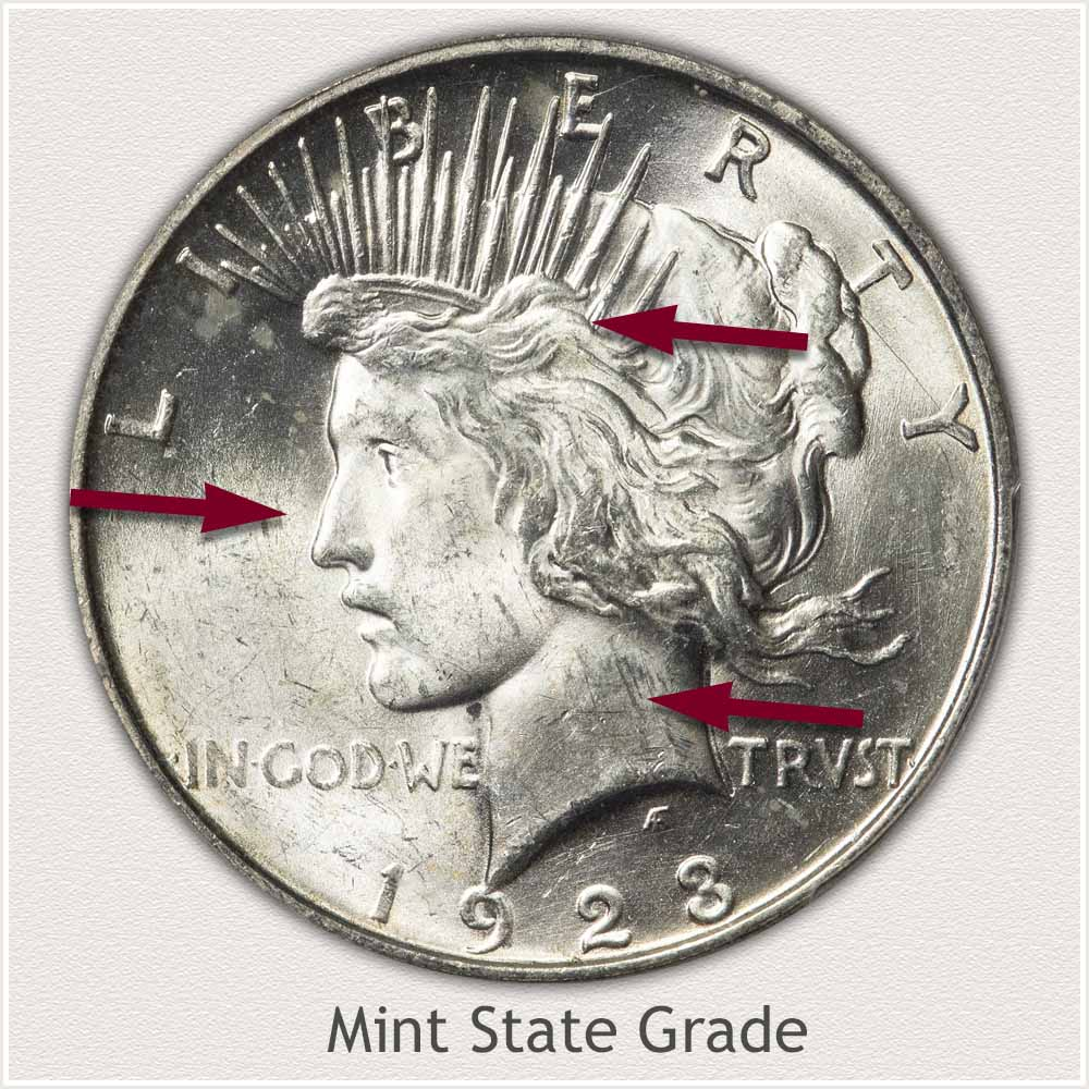 Obverse View: Mint State Grade Peace Dollar