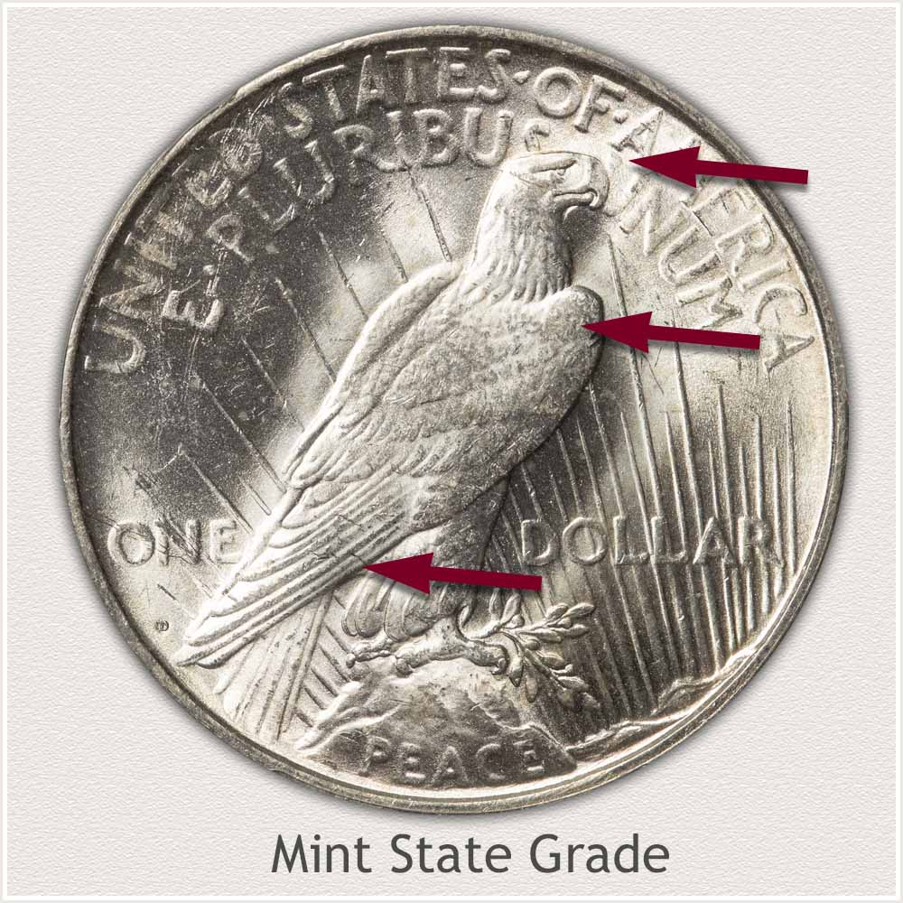 Reverse View: Mint State Grade Peace Dollar