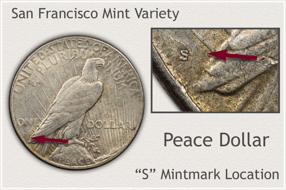 San Francisco Mint Variety Peace Silver Dollar