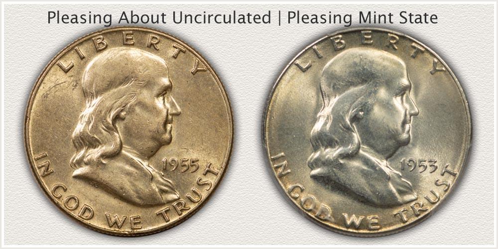 Pleasing AU and Mint State Franklin Half Dollars