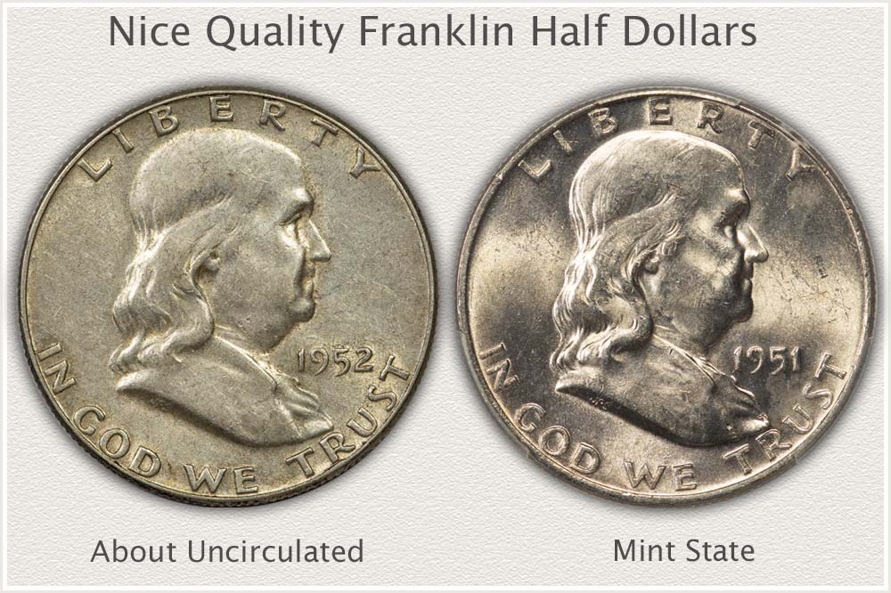 Nice Quality About Uncirculated and Mint State Franklin Half Dollars