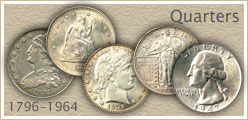 Go to...  Quarter Values for Bust, Seated Liberty, Barber and Standing Liberty Quarters