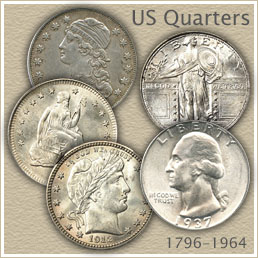 Uncirculated Bust, Seated Liberty, Barber, Standing Liberty and Washington Quarter