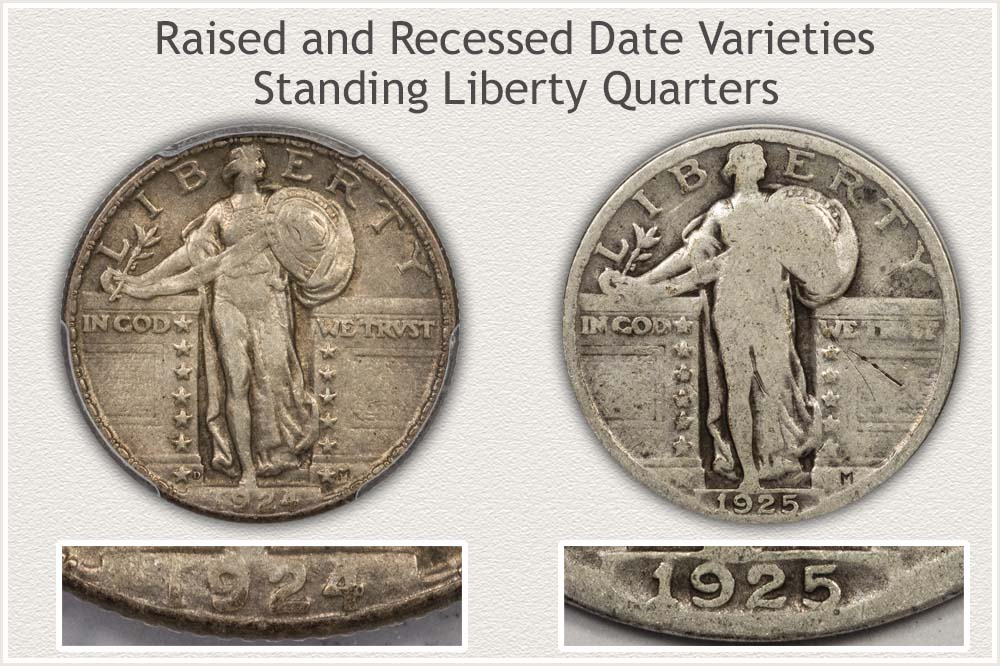 Raised and Recessed Date Standing Liberty Quarters