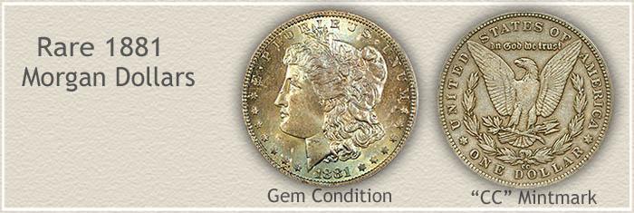 Rare 1881 Morgan Silver Dollars
