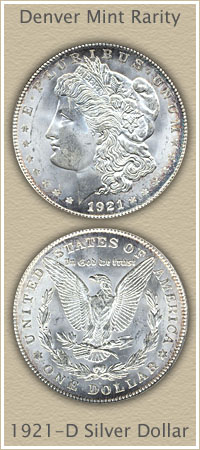 Rare 1921-D Morgan Silver Dollar