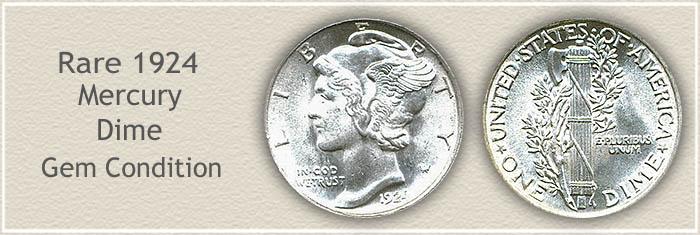 Rare 1924 Mercury Dime