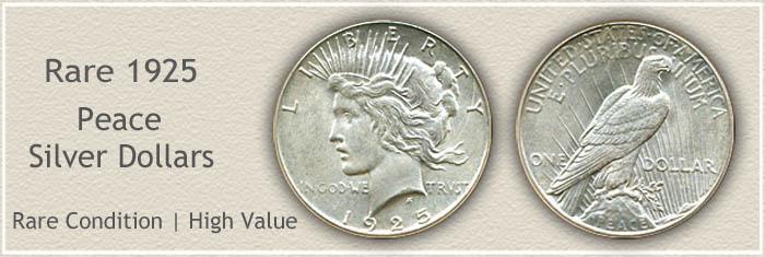 Rare 1925 Peace Silver Dollar