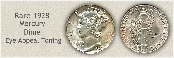 Rare 1928 Mercury Dime