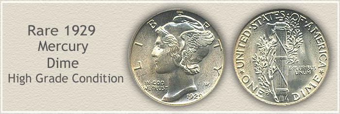 Rare 1929 Mercury Dime