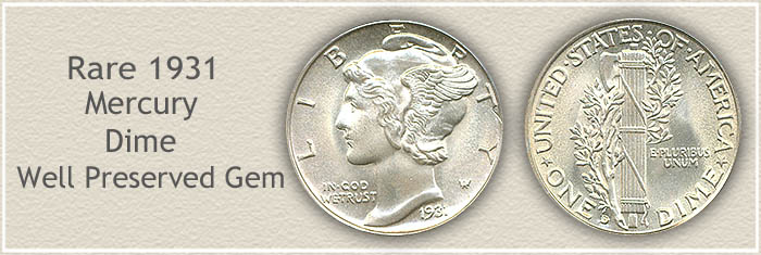 Rare 1931 Mercury Dime