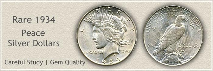 Rare 1934 Peace Silver Dollar