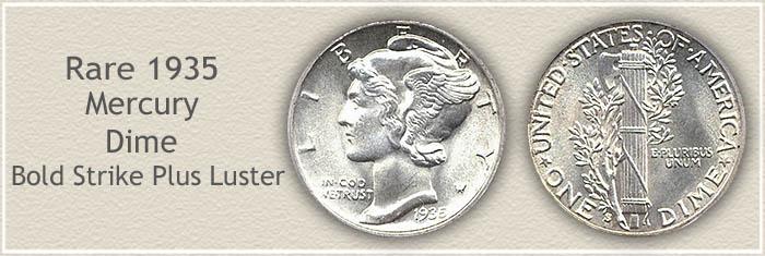 Rare 1935 Mercury Dime