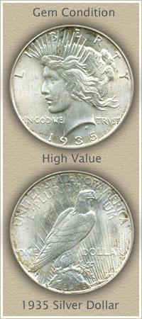 Rare 1935 Peace Silver Dollar