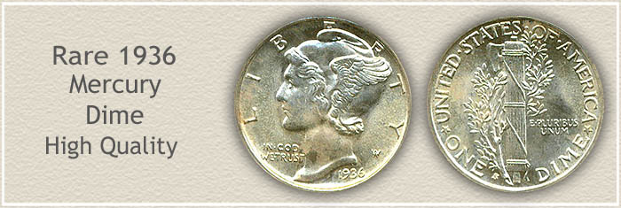 Rare 1936 Mercury Dime