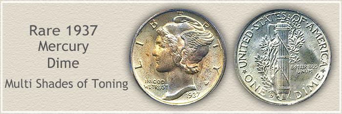 Rare 1937 Mercury Dime