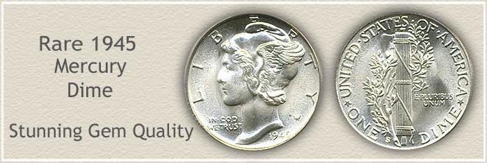 Rare 1945 Mercury Dime