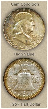 Rare 1957 Franklin Half Dollar