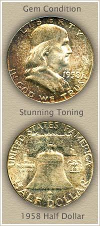 Rare 1958 Franklin Half Dollar