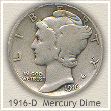 Rare 1916-D Mecury Dime