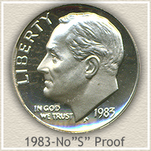 Rare 1983 Proof No S Roosevelt Dime