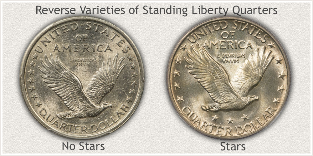 Type 1 and Type 2 Reverse Designs of Standing Liberty Quarters
