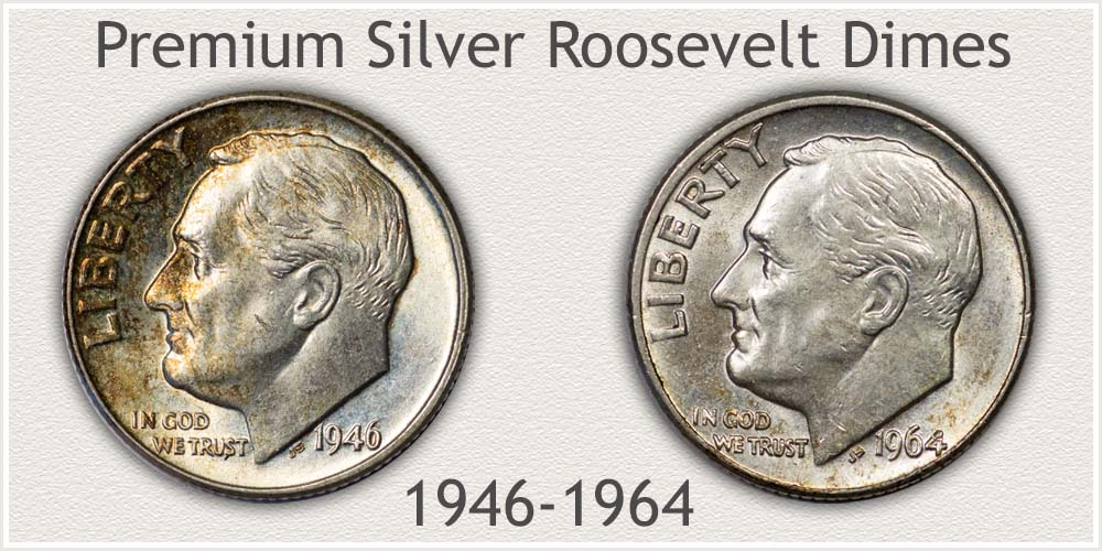 1946 and 1964 Roosevelt Dimes