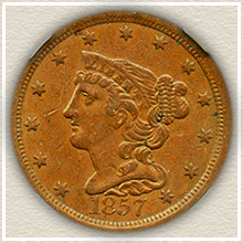 Rare 1857 Half Cent