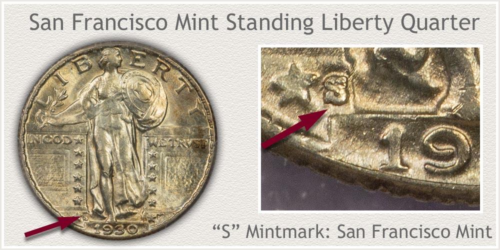 San Francisco Mint Standing Liberty Quarter
