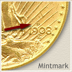 Saint Gaudens Twenty Dollar Gold Coin Mintmark Location