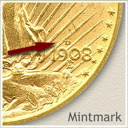 Saint Gaudens Twenty Dollar Gold Coin Mintmark Location