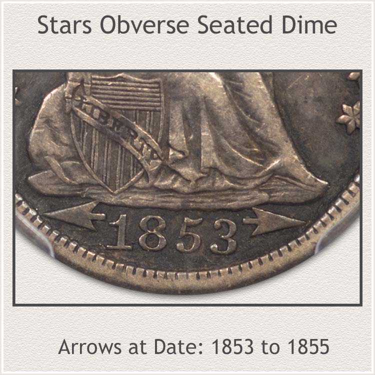 Arrows at Date Sub-Variety 1853 to  1855