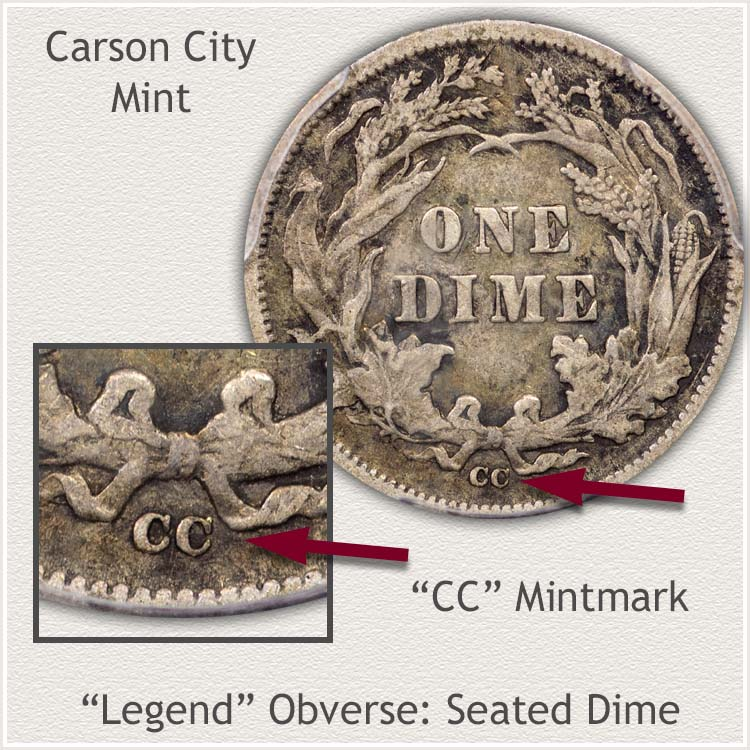 Carson City Mintmark Location Legend Obverse Seated Dime