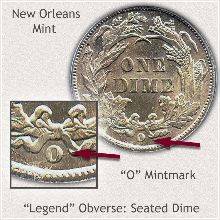 New Orleans Mintmark Location Legend Obverse Seated Dime