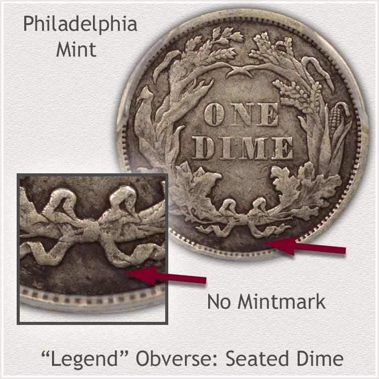Philadelphia Mint Legend Obverse Seated Dime