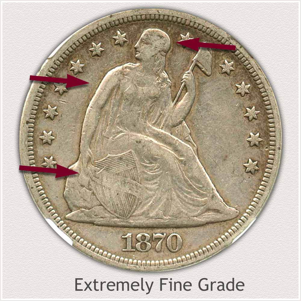 Obverse View: Extremely Fine Grade Seated Liberty Dollar