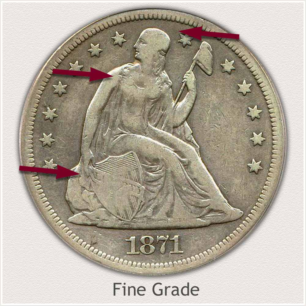 Obverse View: Fine Grade Seated Liberty Dollar