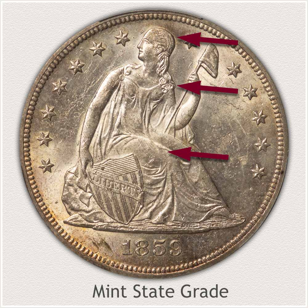 Obverse View: Mint State Grade Seated Liberty Dollar