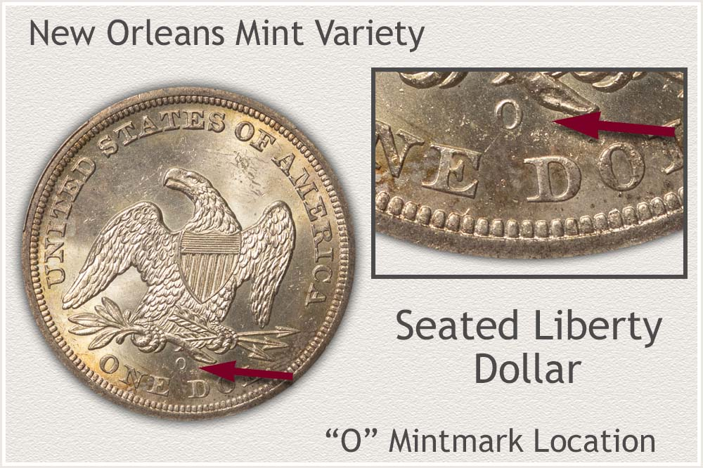 New Orleans Mint Seated Liberty Silver Dollar