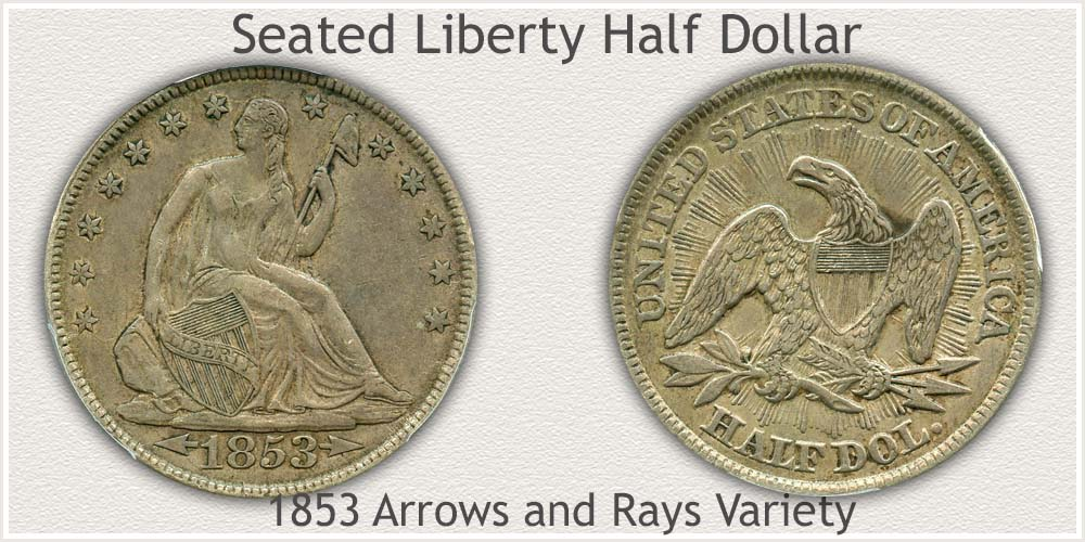 1853 Seated Liberty Half Dollar Arrows and Rays Variety