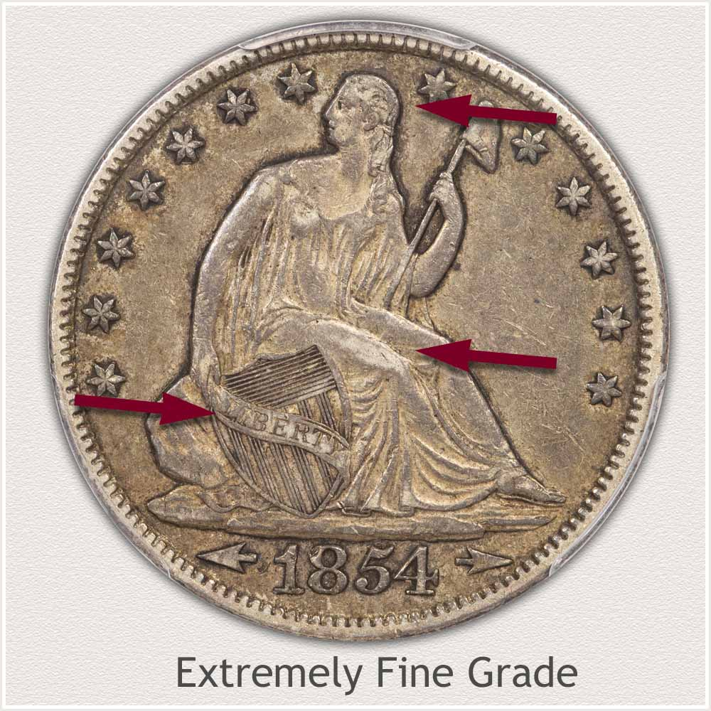 Obverse View: Extremely Fine Grade Seated Liberty Half Dollar