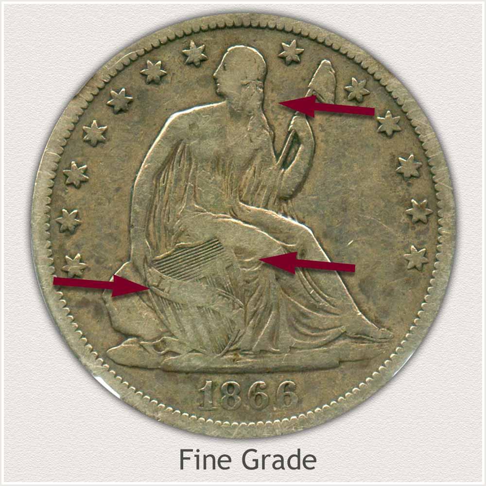 Obverse View: Fine Grade Seated Liberty Half Dollar
