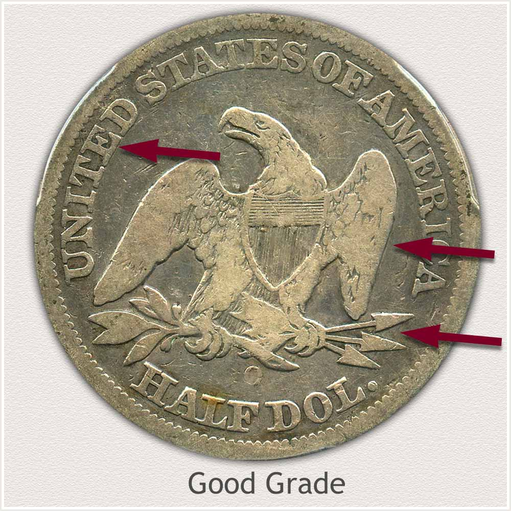 Reverse View: Good Grade Seated Liberty Half Dollar