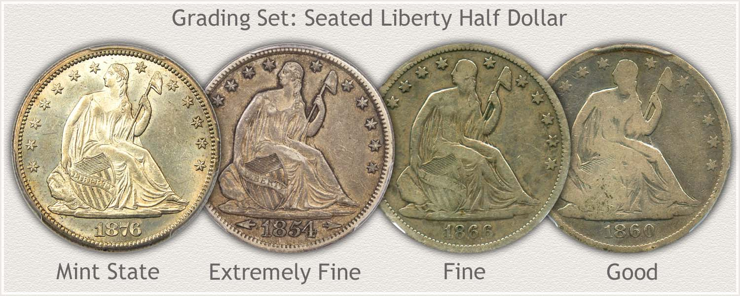 Grading Set of Seated Liberty Half Dollars in Mint State, Extremely Fine, Fine, and Good Grades